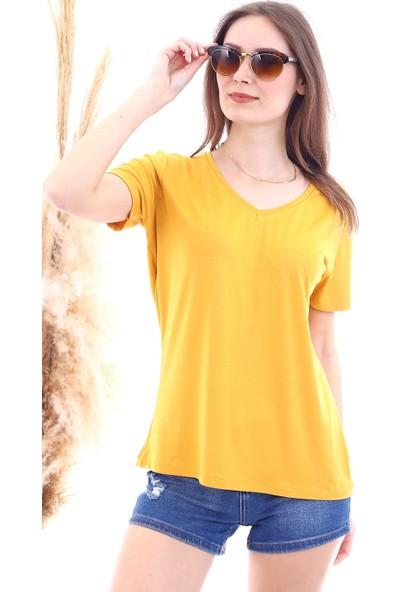 Cotton Mood 7050466 V Yaka Boyfriend T-Shirt Hardal