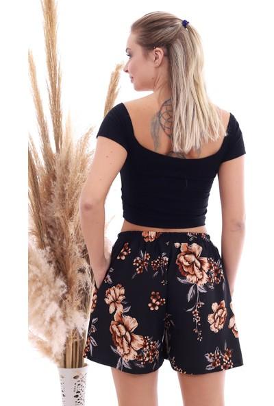 Cotton Mood 20064507 Örme Krep Cepli Bağlamalı Beli Lastikli Şort Siyah Buyuk Çıçek