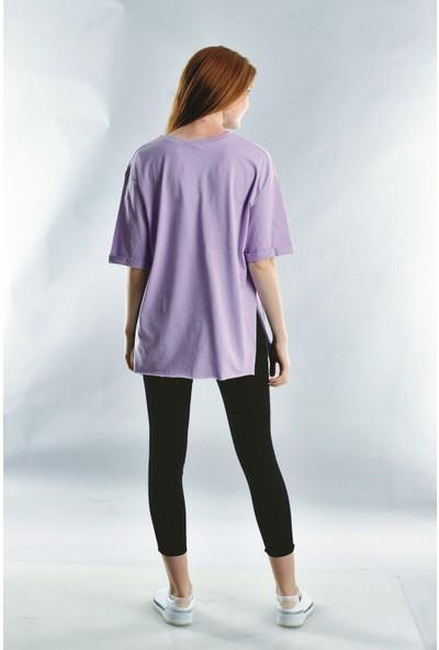 Cotton Mood 20021916 Süprem I Am Art Taş Baskılı Kısa Kol T-Shirt Lila