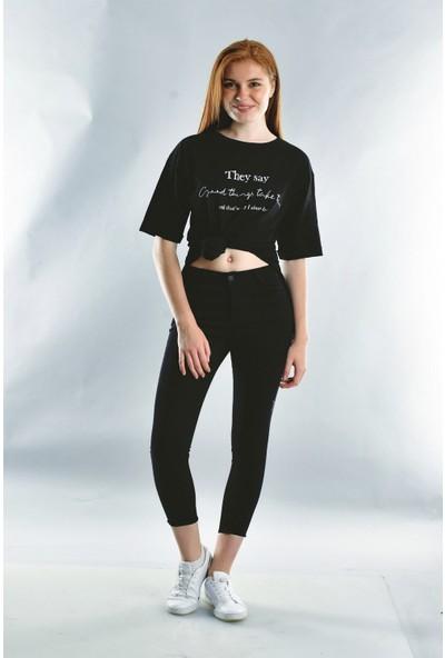 Cotton Mood 20071922 Süprem They Say Baskılı Taşlı Kısa Kol T-Shirt Siyah