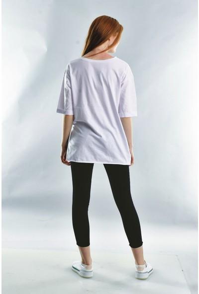 Cotton Mood 20071922 Süprem They Say Baskılı Taşlı Kısa Kol T-Shirt Beyaz