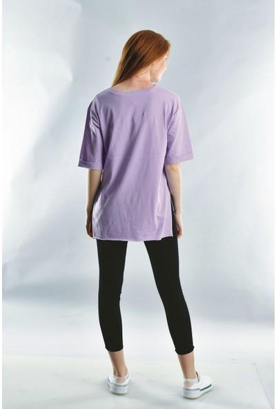 Cotton Mood 20071922 Süprem They Say Baskılı Taşlı Kısa Kol T-Shirt Lila