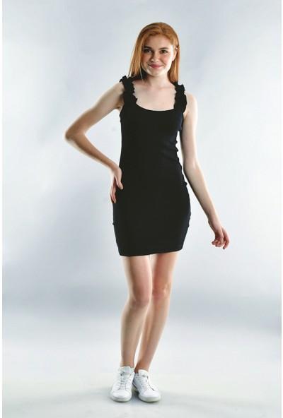 Cotton Mood 20072001 Kaşkorse Askısı Büzgülü Elbise Siyah