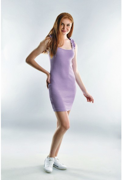 Cotton Mood 20072001 Kaşkorse Askısı Büzgülü Elbise Lila