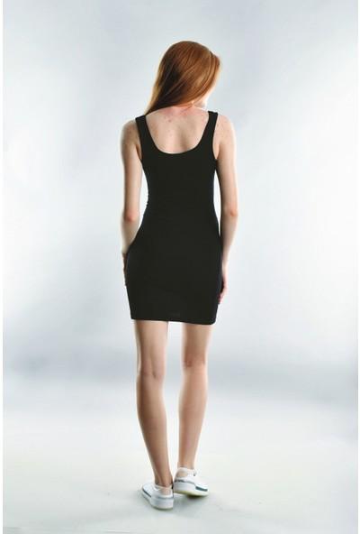 Cotton Mood 20072003 Kaşkorse Askılı Beli Bağlamalı Elbise Siyah