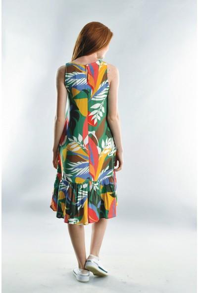 Cotton Mood 20072006 Dok.viskon Desenli Eteği Büzgülü Kolsuz Elbise Yesıl