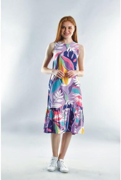 Cotton Mood 20072006 Dok.viskon Desenli Eteği Büzgülü Kolsuz Elbise Lila