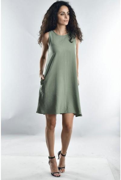 Cotton Mood 20071988 Bodrum Askılı Cepli Elbise Hakı