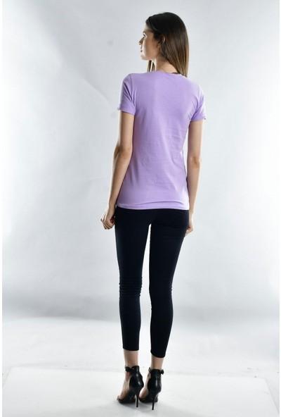 Cotton Mood 20021138 Süprem Kelebek Taşlı Cepli Kısa Kol T-Shirt Lila
