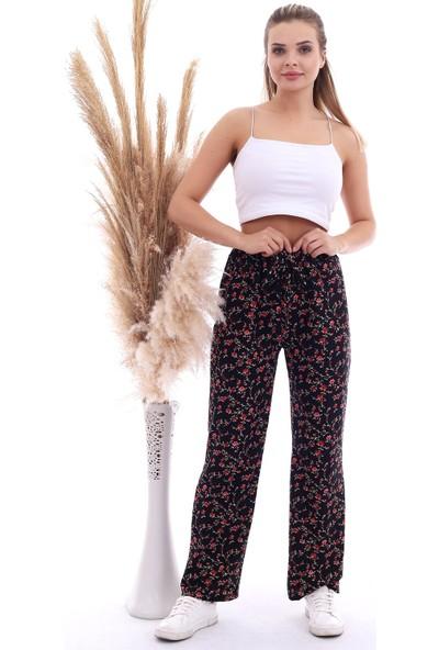 Cotton Mood 20070786 Örme Krep Beli Lastikli Bol Paça Pantolon Siyah Çıçekler
