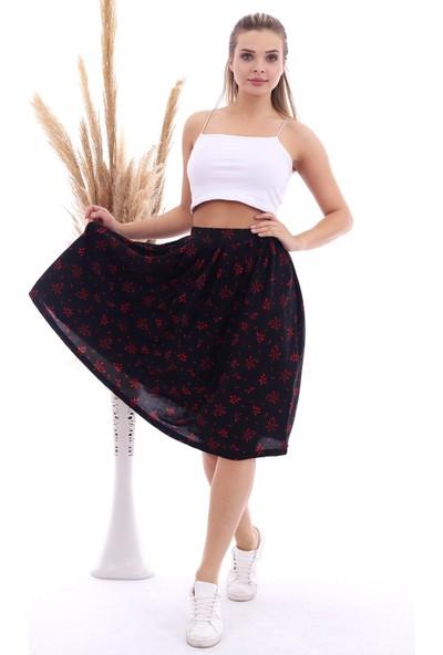 Cotton Mood 20071314 Örme Krep Desenli Beli Lastikli Pileli Etek Siyah Kırmızı
