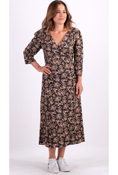 Cream&Rouge Siyah Çiçek Desenli Kruvaze Elbise