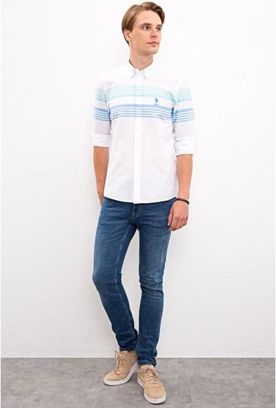 U.S. Polo Assn. Erkek Mavi Gömlek Uzunkol 50219643-Vr077
