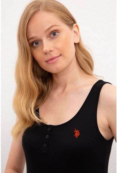 U.S. Polo Assn. Kadın Siyah T-Shirt Basic 50219868-Vr046