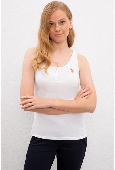 U.S. Polo Assn. Kadın Beyaz T-Shirt Basic 50219868-Vr013