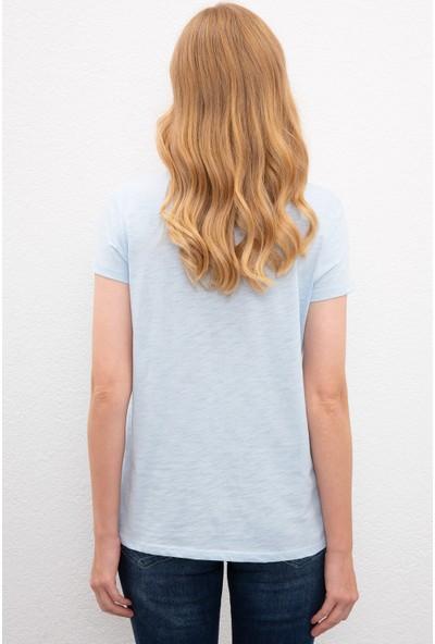 U.S. Polo Assn. Kadın Mavi T-Shirt 50225789-Vr003