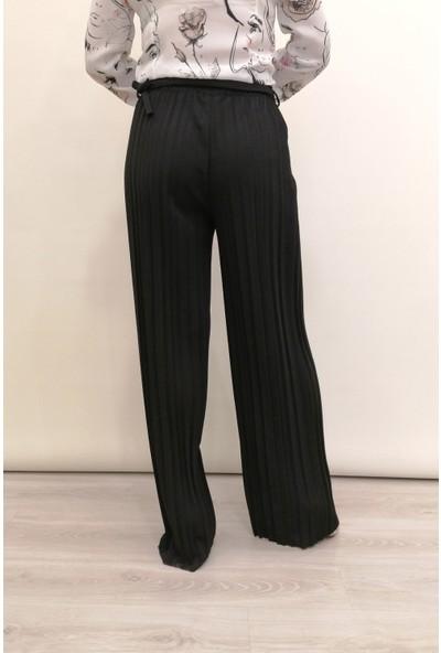 Ponje Siyah Pileli Bol Paça Pantolon - ZNP-0016