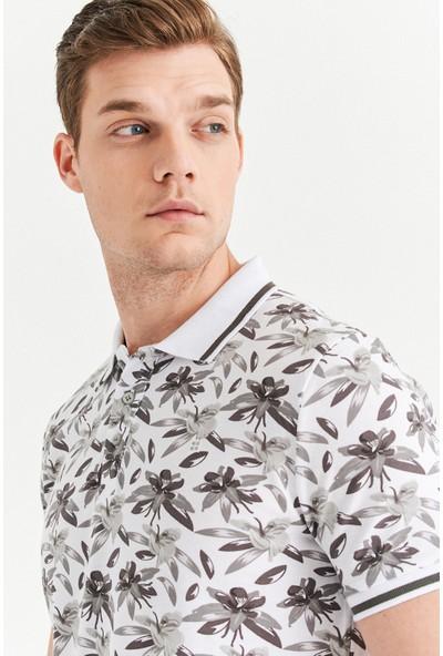 Avva Erkek Gri Polo Yaka Baskılı T-Shirt A01Y1011