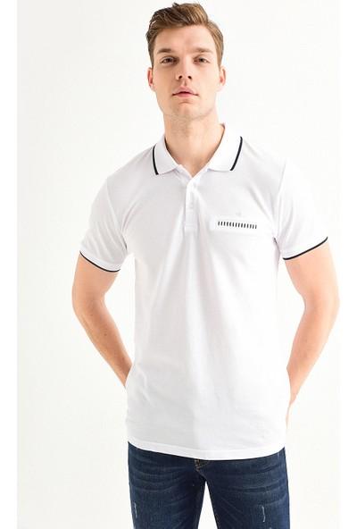 Avva Erkek Beyaz Polo Yaka Düz Cepli T-Shirt A01S1273