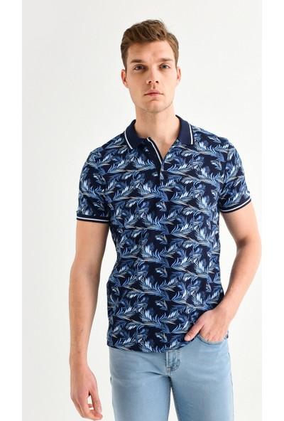 Avva Erkek Lacivert Polo Yaka Baskılı T-Shirt A01Y1002