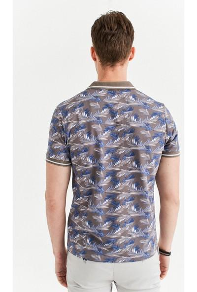Avva Erkek Vizon Polo Yaka Baskılı T-Shirt A01Y1002