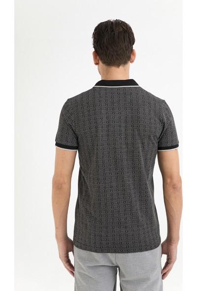 Avva Erkek Siyah Polo Yaka Jakarlı T-Shirt A01Y1121