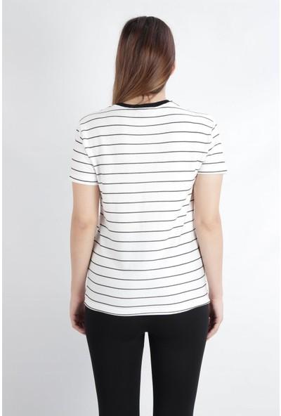 Alexander Gardi V Yaka Çizgili Regular Fit Casual T-Shirt Beyaz (B20-1654 00)
