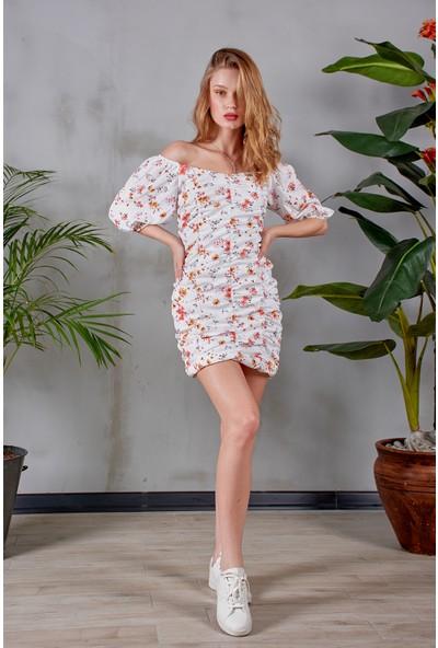 Simple Stories 20SMZ0008 Büzgülü Çiçekli Elbise