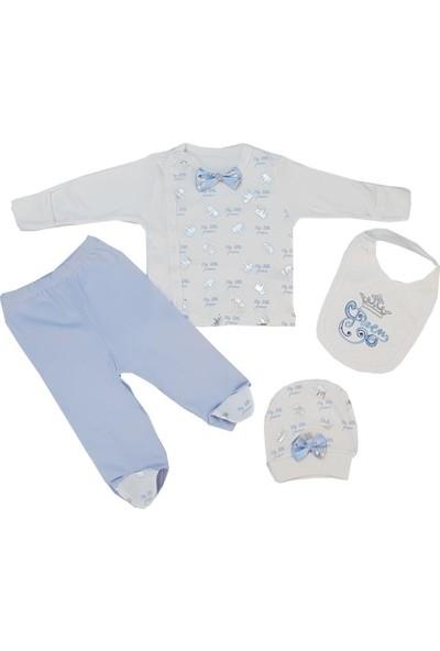 Alp Collection Mavi Prens Yeni Doğan Erkek Bebek 4 Parça Hastane Çıkışı Zıbın