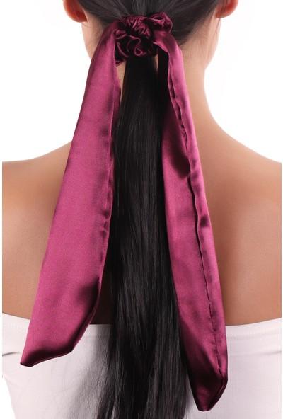 Labalaba Hahai Kadın Uzun Kurdele Model Saten Scrunchie Toka