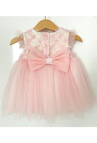 Colored Baby Üstü 3D Çiçekli Fiyonk Detaylı Elbise ve Saç Bandı