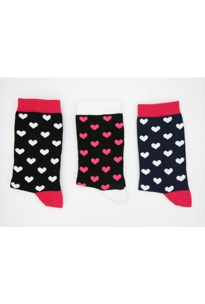 Calza Bella 3'lü Kadın Soket Çorap - Kalpli