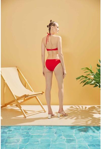 Sunlife Kırmızı Boş Kaplı Straplez Bikini