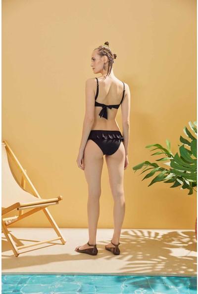 Sunlife Siyah Straplez Volanlı Bikini