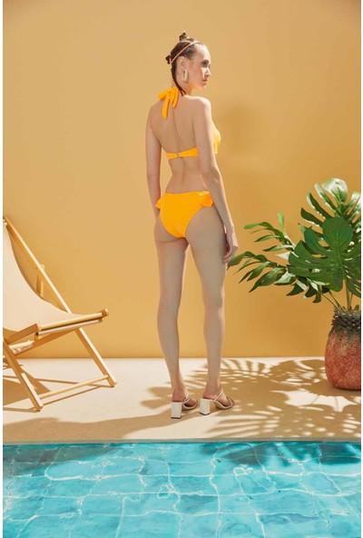 Sunlife Neon Turuncu Volanlı Boyundan Bağlamalı Bikini