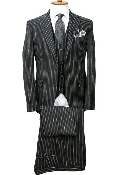 Middleist Çizgili Desen Slim Fit Yelekli Takım Elbise Siyah 46