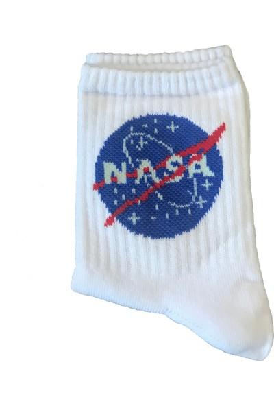Rockstar Nasa Desenli Unisex Soket Çorap - Beyaz Renk