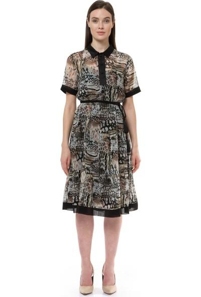 Birelin Desenli Tül Elbise