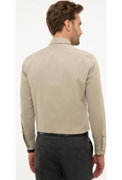 Pierre Cardin Bej Slim Fit Gömlek 50225952-VR011