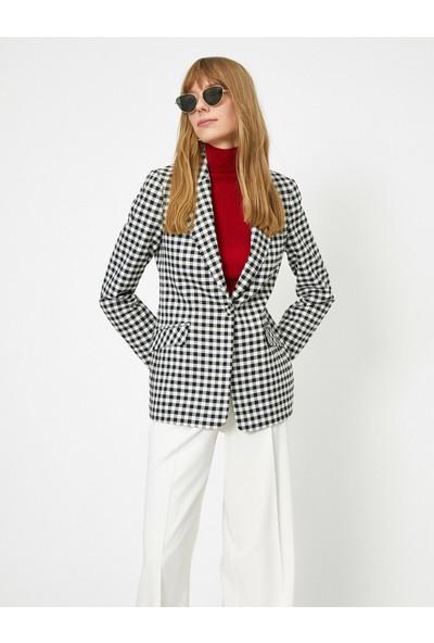 Koton Kadın Ekoseli Blazer Ceket