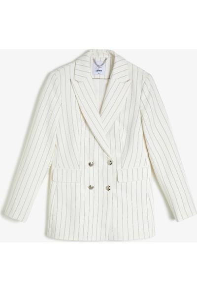 Koton Kadın Arzu Sabancı for Koton Çizgili Blazer Ceket