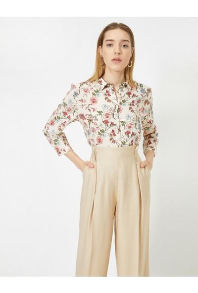Koton Kadın Çiçek Desenli Uzun Kollu Tunik