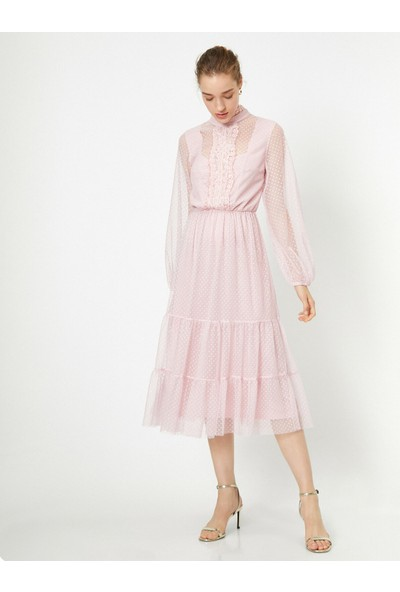 Koton Kadın Yüksek Yaka Uzun Kollu Tül Dantel Detaylı İşlemeli Midi Elbise