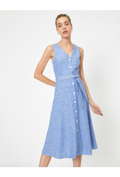 Koton Kadın Kemerli Düğmeli Çizgili Kısa Kollu Elbise
