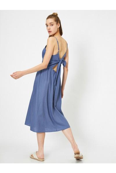 Koton Kadın Askılı Kolsuz Sırt Detaylı Beli Bağlamalı Midi Elbise