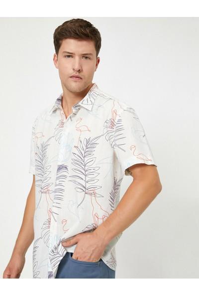 Koton Erkek Desenli Kısa Kollu Gömlek