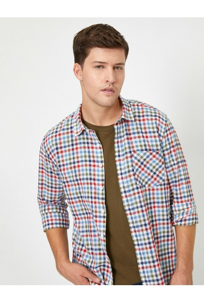 Koton Erkek Kareli Cep Detaylı Gömlek