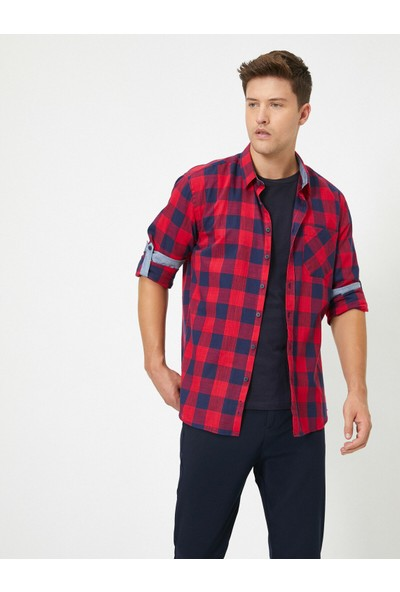 Koton Erkek Uzun Kollu Kareli Gömlek