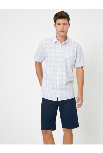 Koton Erkek Tek Cepli Kareli Kısa Kollu Gömlek
