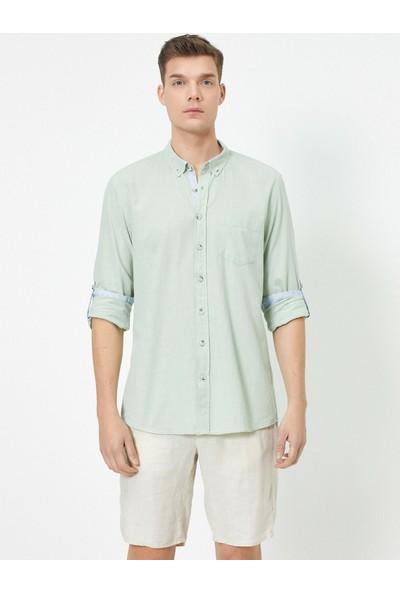 Koton Erkek Tek Cepli Klasik Yaka Uzun Kollu Gömlek